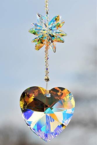 Herz Sonnenfänger – handgearbeitet aus Kristallen von Swarovski®, Geschenk Weihnachten Geburtstag Muttertag