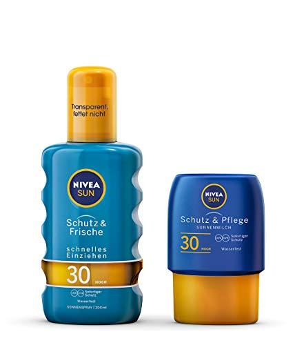 NIVEA Schutz & Frische Sonnenspray + gratis Reisegröße Sonnenmilch (1 x 200ml + 1 x 50ml), Sonnenspray mit LSF 30, wasserfeste Sonnenlotion