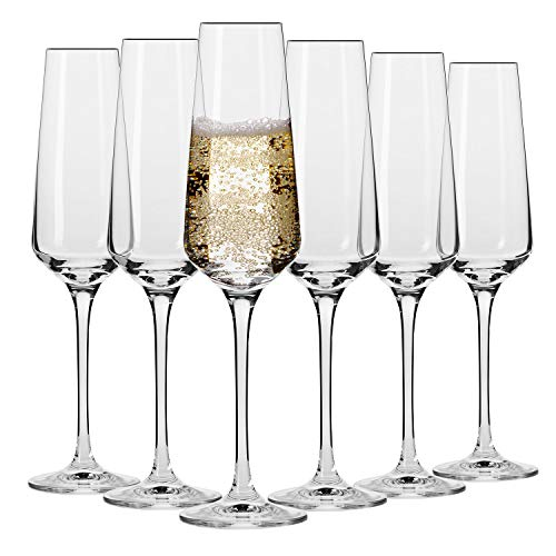 Krosno Sektgläser Champagner-Gläser Sektflöten | Set von 6 | 180 ML | Avant-Garde Kollektion | Proseccogläser | Perfekt für zu Hause Restaurants und Partys | Spülmaschinenfest und Mikrowellengeeignet