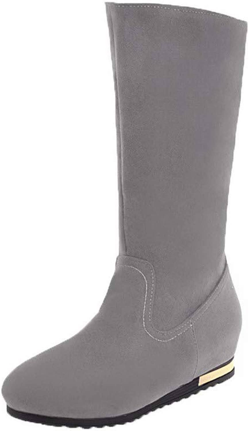 WeiPoot Women's Mid-Calf Pull-On Frosted Low-Heels Round-Toe Boots, EGHXH124382