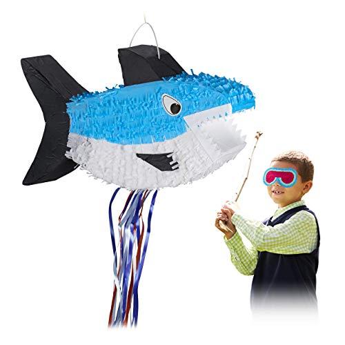 Relaxdays 10028080 Hai Pinata, zum Aufhängen, für Kinder, Mädchen & Jungs, Geburtstag, zum selbst Befüllen, Zugpinata, blau