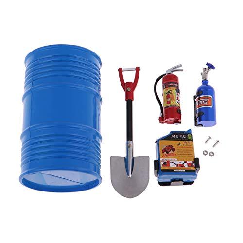 1/10 Scale Fire Extinguisher Nitrogen Bottle Fuel Tank and Oil Drum Set RC Rock Crawler Accessory Decor Tool for SCX10 D90 TRX4 - Blue, as described
