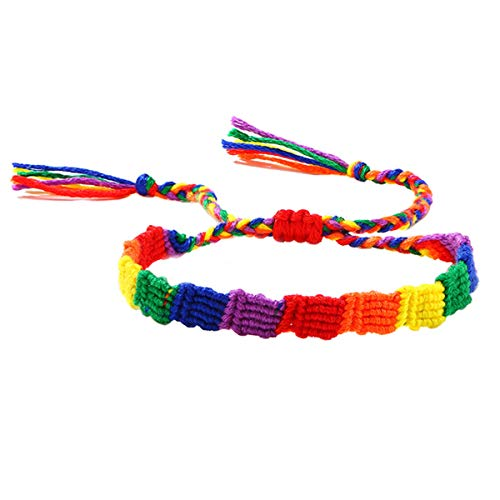 Nanafast Rainbow LGBT Bracelet Adjustable Handmade Pride Braided Bracelet for Gay & Lesbian Rainbow Pride Bracelet Gifts 8mm