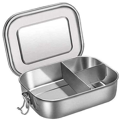 CTPLIKMH Lunch Bento Box Contenedor de Almuerzo Bento de Acero Inoxidable, Caja de Almuerzo Bento de 3 Compartimentos para sándwich y Dos Lados, 1400 ml de contenedor de Alimentos (Color : Silver)