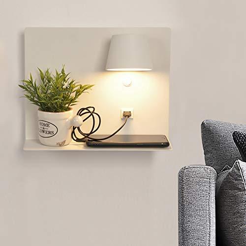 BarcelonaLED Lámpara Aplique de pared LED aluminio blanco con base de carga USB, foco orientable de 6W blanco calido 2700K e interruptor para Dormitorio Cama Cabecero Lectura Salón