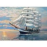 Ukerdo DIY Barco Navegación Pintura Diamante por Números Kits Bordado Taladro Completo Pared Arte Imagen para Sala de Estar