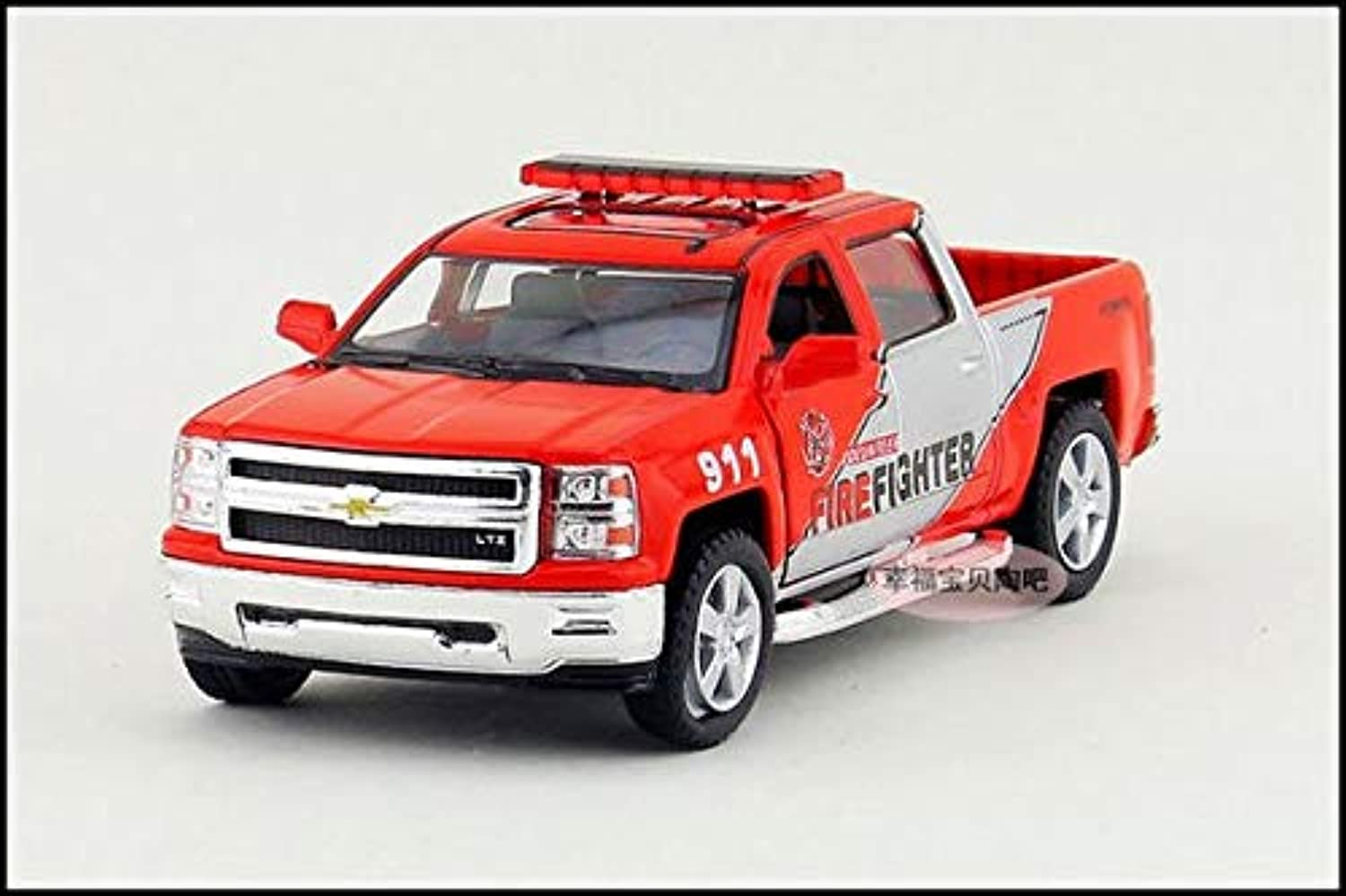 Generic Gift for Baby 1 46 12.5cm Kinsmart Chevrolet Chevy Pickup Alloy Cool Patrol Wagon car Pull Back Alloy Model boy Toy Red