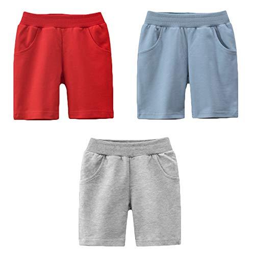 LAUSONS 3er-Pack Shorts für Kinder Sommer Kurze Hosen Einfarbige Baumwolle Schlafanzug Set 2/98-104