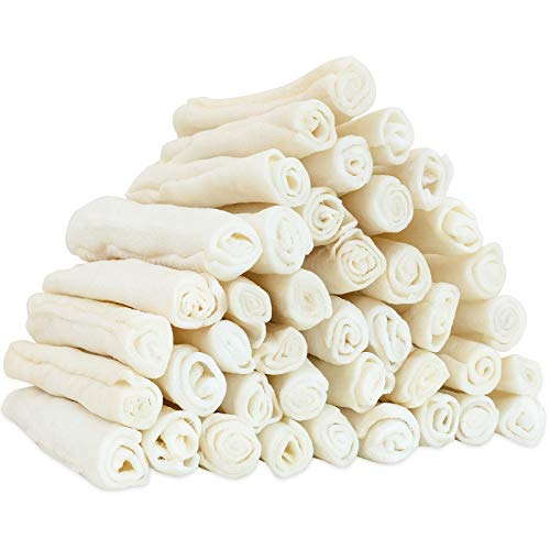 MON2SUN Dog Rawhide Rolls Natural Skinny Retriever Rolls 6.5 Inch 40 Count for Puppy and Small Dogs