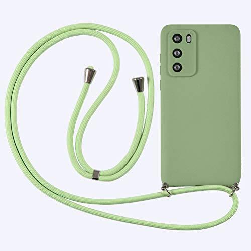 KAPUCTW Capa compatível com Huawei P20 Lite com alça transversal de cordão, TPU macio com suporte de pescoço ajustável de nylon, cordões de telefone com design 3D para Huawei P20 Lite 5,7 polegadas, verde grama
