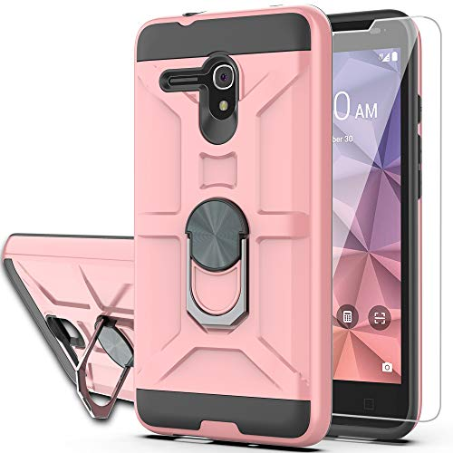 Alcatel OneTouch Fierce XL/Pop 3/Flint/Pixi Glory 4G LTE Case with HD Screen Protector YmhxcY 360 Degree Rotating Ring Kickstand Dual Layers of Shockproof Phone Case 5054-ZS Rose Gold