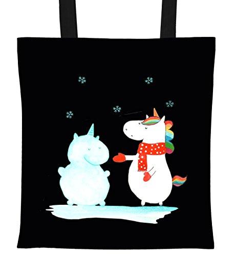 Mr. & Mrs. Panda Shopper, Baumwolltasche, Tragetasche Einhorn Schneemann - Farbe Schwarz