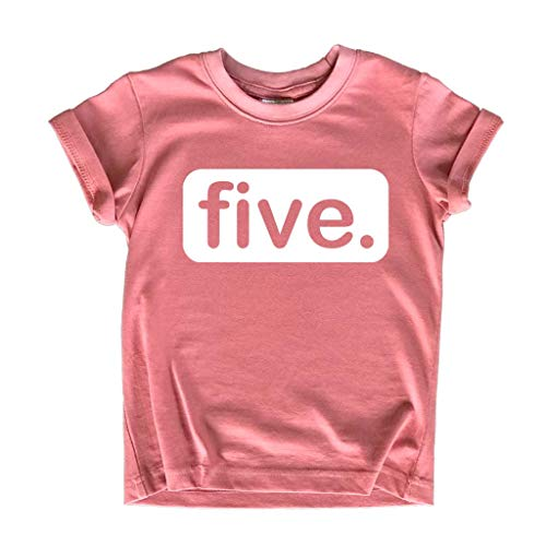 Unordinary Toddler 5th Birthday Shirts for Girls 5 Year Old Shirt Girl Five Gift Fifth Tshirt Outfit (White on Mauve, 5 Years)
