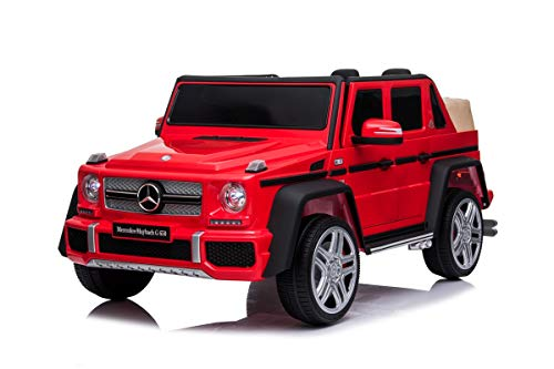 Mondial Toys Auto Macchina ELETTRICA 12V per Bambini Mercedes-Maybach G650 Landaulet Pick-UP con Sedile in Pelle Cintura di Sicurezza 5 Punti Telecomando Rosso
