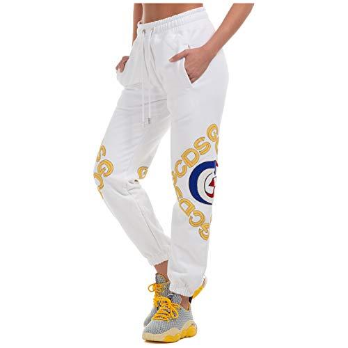 GCDS Damen Jogginghose Logo 3D Bianco XS