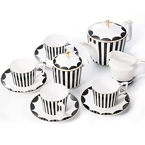 Juego de té de la tarde del restaurante de la porcelana de rayas nórdicas juego de taza de café y platillo para el hogar (juego de café geométrico a rayas 11)