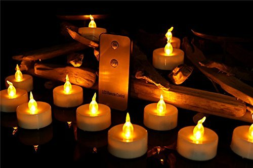XXLYY 12pcs Tea Lights with Remote Flameless Led Votives Battery Operated Flickering Amber Yellow Candles for Halloween Decoration Holiday Party