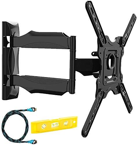 Invision Support Murale TV Orientable et Inclinable - pour Les Écrans 4K, UHD, LCD, Plasma et Incurvés de 24 à 55 Pouces (61-140cm) – Max VESA 400x400mm – avec Câble HDMI 1.8m (HDTV-E)