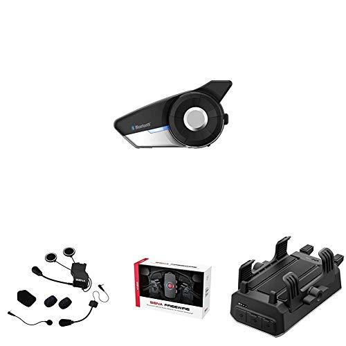 Sena 20s + Kit de Montaje Universal de Auriculares + Bluetooth CB y Adaptador de Audio + Sena Powerpro-01 Soporte para Manillar