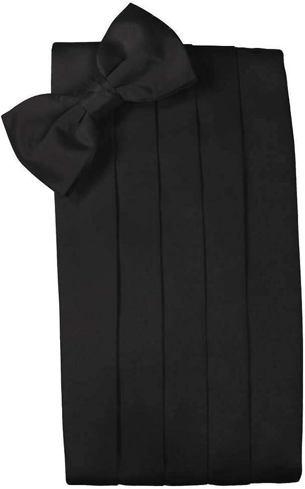 Men's 100% Noble Silk Cummerbund & Bow Tie Set - Many Colors (Black)