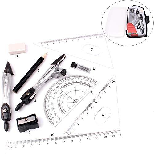 Yyuezhi 10 stuks geometrie set kompas set passers en wiskunde set met accessoires liniaal hoekmeter kompas potlood puntenslijper potloodvulling en gum anti case (met opbergdoos)
