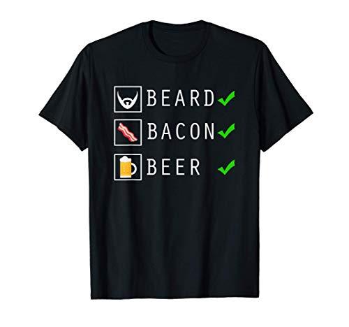 Hombre Lista de control del amante de la cerveza con tocino y barba Camiseta