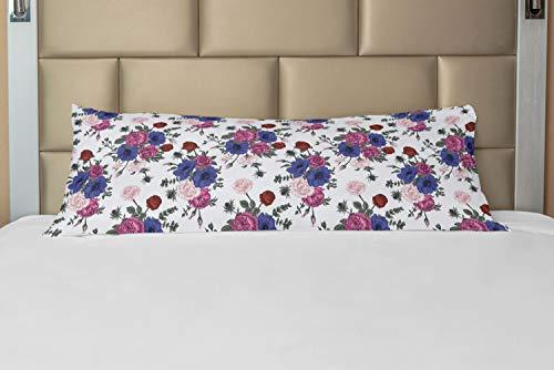 ABAKUHAUS anemoon Hoes voor Ligzak met Rits, kleurrijke Corsage, Decoratieve Lange Kussensloop, 53 x 137 cm, Veelkleurig