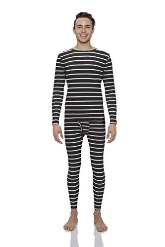 Rocky Striped Thermal Underwear for Men Midweight Fleece Lined Thermals Men's Base Layer Long John Set (Black Striped - Midweight (Fleece) - Medium)