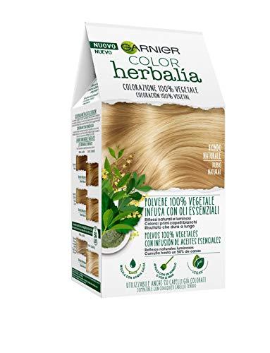 Garnier Herbalia Color, Colorazione Permanente per Capelli, 100% Vegetale con Henné, Indigo e Cassia per Riflessi Naturali e Luminosi, Capelli Rivitalizzati e Densificati, Biondo Naturale