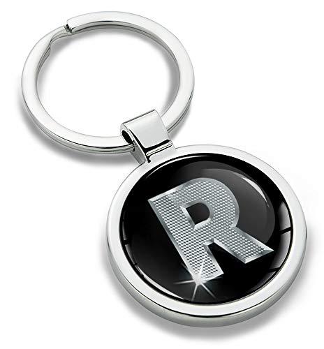 Biomar Labs® Llavero con Iniciales Personalizadas del Alfabeto de Metal en 3D, Plata para Hombres y Mujeres, Carta de Regalo R, KK 18