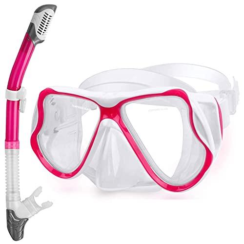 NZQK Juego de esnórquel seco para traje de esnórquel, máscara de buceo antivaho, gafas de buceo panorámicas de visión amplia, fácil respiración y equipo profesional de esnórquel para adultos