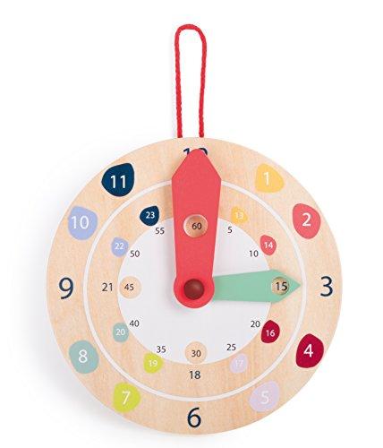small foot design-Small Foot 10851 Wanduhr Educate aus Holz mit bunten Zahlen, Vorschulspielzeug, Uhrzeit lernen, Kindergarten Horloge Éducative, Multicolore, Taille Unique