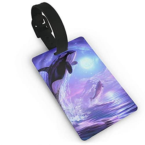 Etiquetas de Equipaje Purple Moon Galaxy Dolphin Etiqueta de Nombre de PVC de mar Lindo Etiquetas de identificación de identificación de Maleta de Viaje Etiqueta de Equipaje Duradera