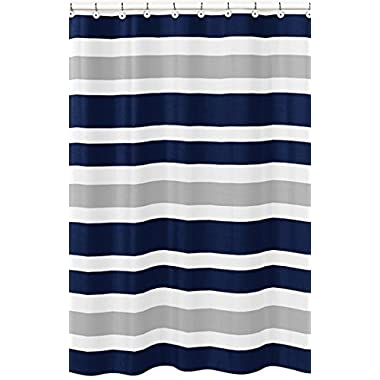 Sweet Jojo Designs Navy Blue, Gray and White Kids Bathroom Fabric Bath Teen Stripe Shower Curtain