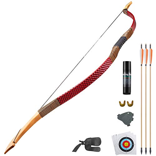 KAINOKAI Traditional Handmade Longbow Horsebow Hunting Recurve Archery Bow (Red Dragon, 45.0 Pounds)