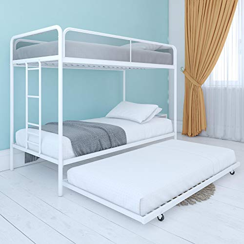 DHP Triple Metal Bunk Bed Frame, White, Twin