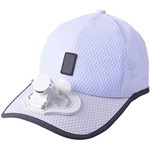 Knowooh LED Baseball Kappe Solar Sonnenenergie Hut Kappe, Kühler Lüfter Ventilator Baseball Cap für Outdoor Sport, Sonnenschutz Kappe(Weiß)