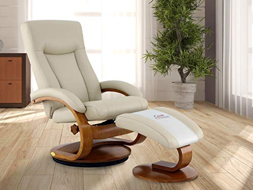 Comfort Chair Company Oslo Collection by Mac Motion Hamar Recliner and Ottoman in Cobblestone Top Grain Leather