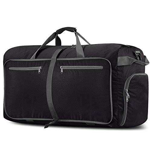 Reisetasche Groß 100L Ultraleicht Faltbare Reisegepäck Duffle Taschen Weekender Übernachtung Taschen Reisetasche Sporttasche für Herren Damen Sport Reisen Gym Urlaub (Black)