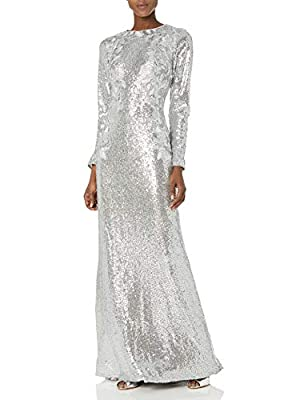 Tadashi Shoji Women's L/S Sequin Gown, Silver, S