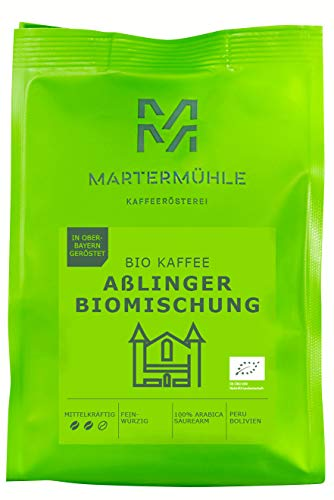 Martermühle I Bio Kaffee Aßlinger Biomischung I Kaffee ganze Bohnen I Bio-Kaffeebohnen I Bio-Kaffee I Premium Kaffeebohnen I geröstete Kaffeebohnen I Kaffee säurearm I 100% Arabica I 500g