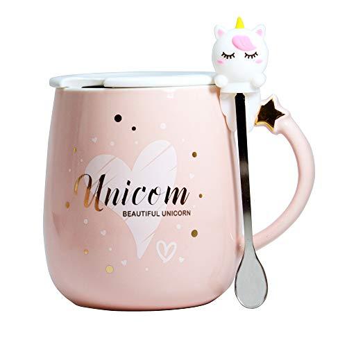 Linda taza unicornio Cerámico café Té Taza de leche tazas divertidas Taza novedosa con tapa y cuchara Regalos para Bodas Cumpleaños Días festivos para Mujer Chicas Amantes Amigos Madre Niños (Rosado)