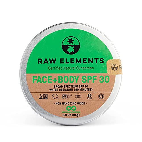 Raw Elements Face and Body Certified Natural Sunscreen | Non-Nano Zinc Oxide, 95% Organic, Water...