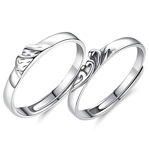 Beydodo Anello Argento Fidanzamento Coppia Anello da Montagna e Mare Regolabile Anelli di Fidanzamento Lui Lei