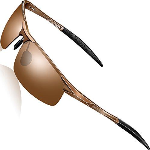 SIPLION Men's Driving Polarized Sport Sunglasses Al-Mg Metal Frame Ultra Light 8177 Brown
