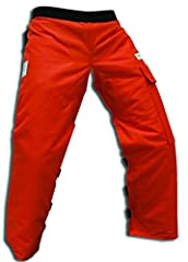 """Meets ASTM F1897, OSHA 1910.266, UL Certified Not suitable for use with electric chainsaws See description for sizing information """"apron style"""" chaps protect front of both legs (most common injury area) Size:Regular 37""""