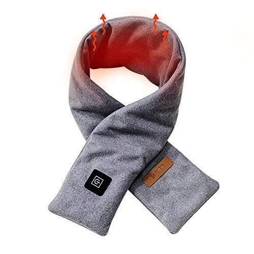 Junean Beheizter Schal, elektrisch beheizter Halstuchwickel, USB-Lademassage-Nackenwickel, einstellbare warme Heizmanschette für Frauen Männer, schneller Heizschal, Heizungs- / Massagetyp