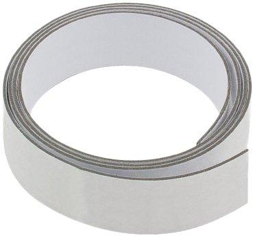 First4magnets FFT25(3M/GW)-1X1M 25mm breit x 1,3 mm dicken Gloss White Eisen Streifen mit selbstklebenden (1m Länge), silver, 25 x 10 x 3 cm