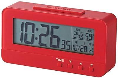 ELECOM デジタル目覚し時計 コンパクトサイズ 温湿度計 レッド CLK-DN001RD