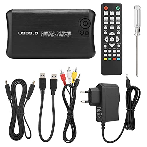 1080P HD Audio Video Player, MKV Blue-ray DVD 2.5 '' HDD Hasta 2TB H.264 Tecnología De Decodificación Reproductor De Alta Resolución Multifunción Para Home AV TV(Normativa europea)